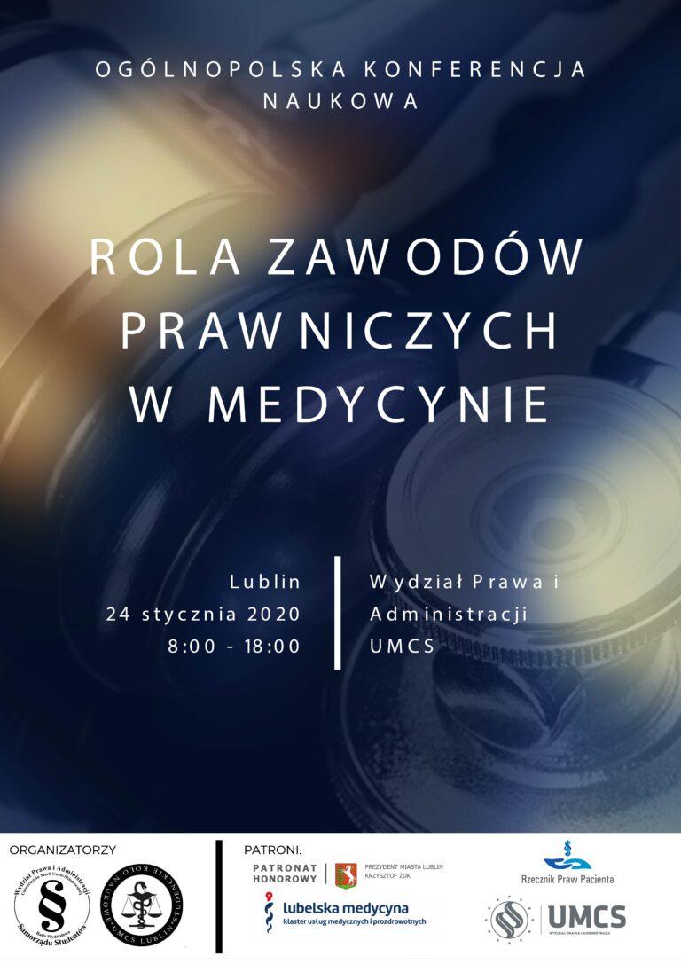 """Plakat informujący o wydarzeniu """"Rola zawodów prawniczych w medycynie"""""""
