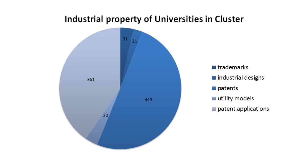Pie chart with industrial property of Universities in Cluster (patents 449, patent applications 361, trademarks 31, utility models 30, industrial designs 21)