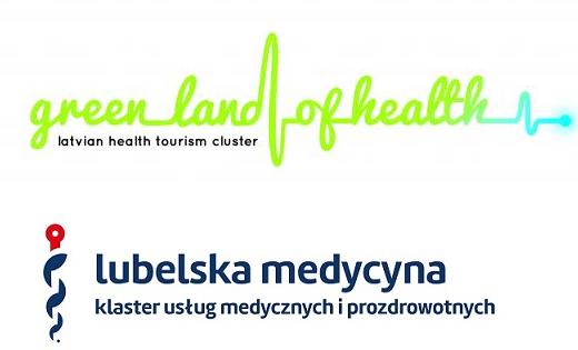 Logotypy Latvian Health Tourism Cluster i Klastra Lubelska Medycyna